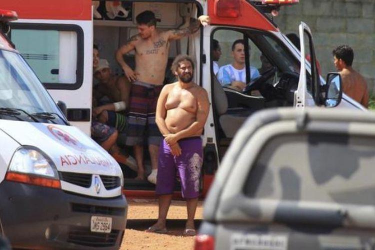 Suasana setelah bentrokan terjadi di penjara Agroindustri Colonia di Kompleks Aparecida de Goiania, di kota Goiania, Brasil. (Deutsche Welle)