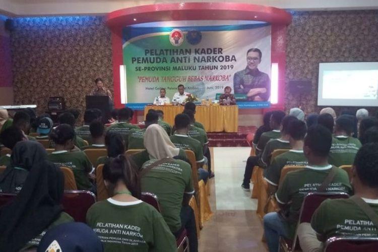 Sekitar dua ratus pemuda Provinsi Maluku mengikuti Pelatihan Kader Inti Pemuda Anti Narkoba 2019 yang digelar di Golden Palace Hotel Ambon, 19-21 Juni 2019.