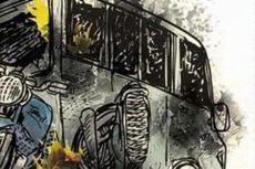 Rem Tak Berfungsi, Truk Fuso Terguling di Jalan Curam