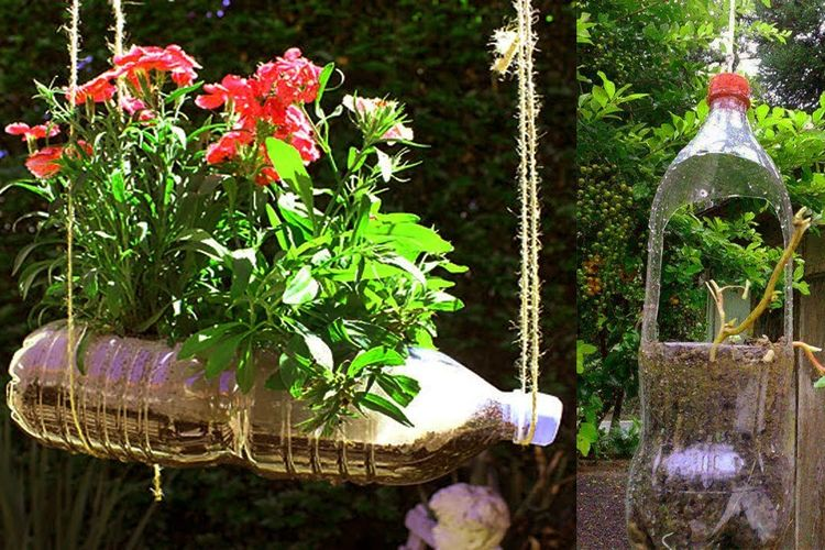 Taman pot gantung dari bahan daur ulang
