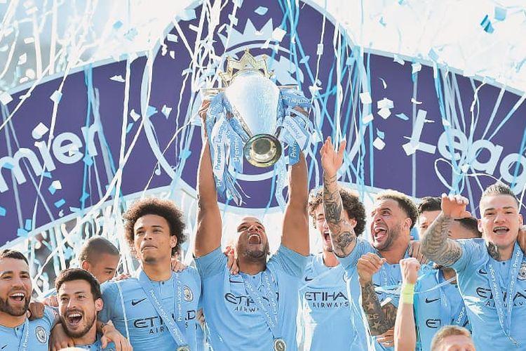 Manchester City berhasil menjuarai Liga Inggris musim 2018-2019, Senin (13/5/2019)