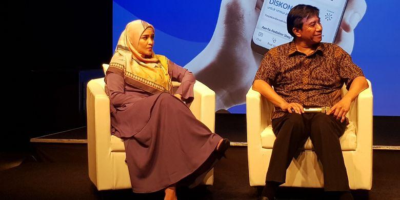Kiri, aktris Intan Nuraini saat konferensi pers Alodokter x Century, Jakarta, Kamis (23/5/2019).