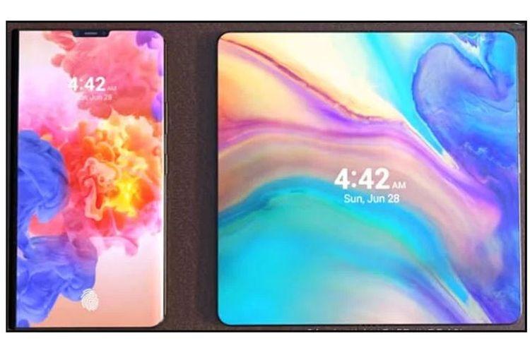 Ilustrasi Ponsel Lipat Huawei 5G