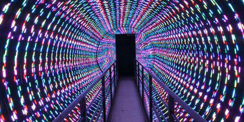 Terowongan cahaya pada Festival Sagami-ko Ilumination. Ini merupakan event iluminasi terbesar di daerah Kanto (Tokyo dan sekitarnya).