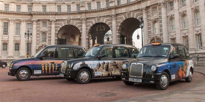 Taksi-taksi di London dibungkus dengan desain destinasi wisata andalan seperti Candi Borobudur, Bali, Komodo, Danau Toba, serta Raja Ampat. Promosi Wonderful Indonesia ini berlangsung pada 16 Oktober hingga 12 November 2017.