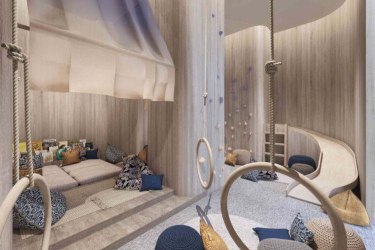 Rancangan desain ruang bermain anak di Apartemen Verde Two, Kuningan CBD, Jakarta Selatan.