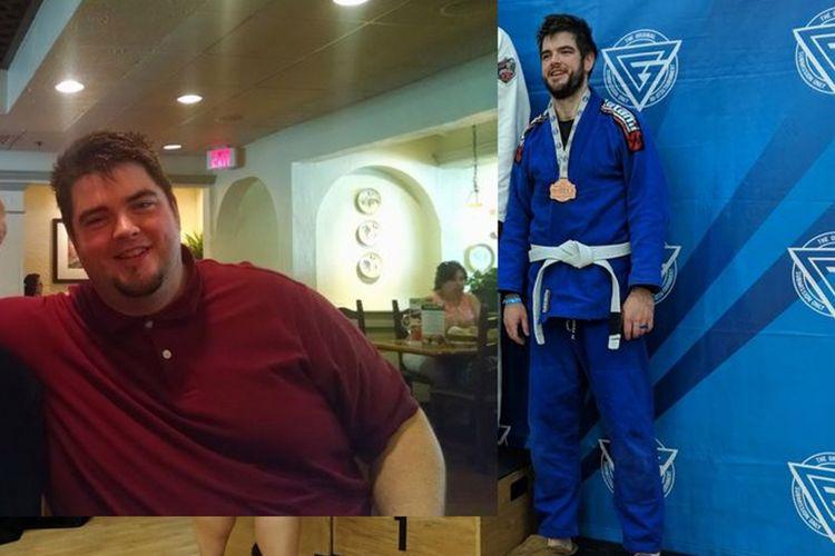 Michael Bridges saat masih gemuk dan ketika sudah berlatih Brazilian jiu jutsiu