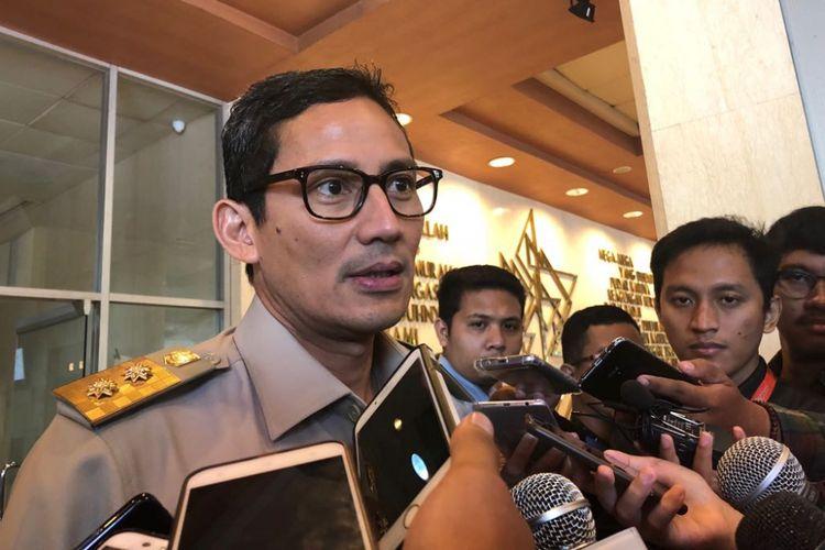 Wakil Gubernur DKI Jakarta Sandiaga Uno di Balai Kota DKI Jakarta, Jalan Medan Merdeka Selatan, Senin (30/4/2018).
