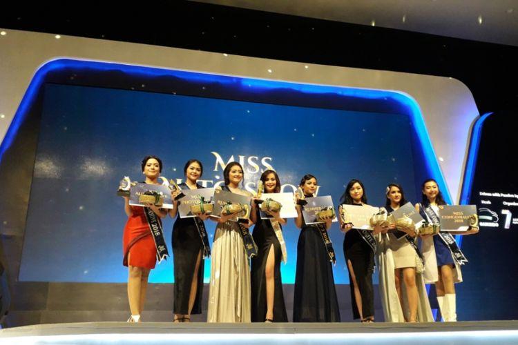 Para peserta Miss Auto Show 2018 yang hadir saat acara Exhibitor Night 2018 di GIIAS 2018, ICE, BSD City, Tangerang, Sabtu (11/8/2018).