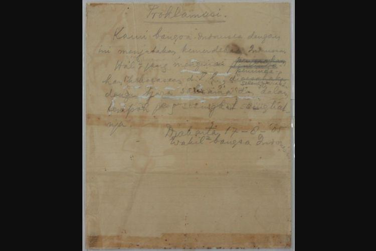 teks proklamasi kemerdekaan Indonesia tulisan tangan Soekarno, teks proklamasi, naskah proklamasi