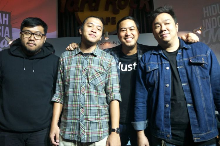 Pandji Pragiwaksono, Afif Xavi, Barry Williem dan Awwe dalam jumpa pers acara Hiduplah Indonesia Maya di Hard Rock Cafe, SCBD, Jakarta Selatan, Senin (24/6/2019).