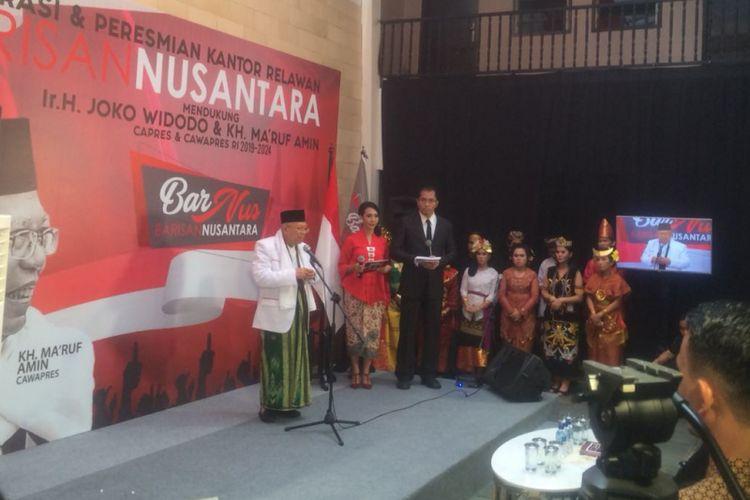 Calon Wakil Presiden Ma'ruf Amin di Kantor relawan Barisan Nusantara, Jakarta Pusat, Sabtu (10/11/2018).