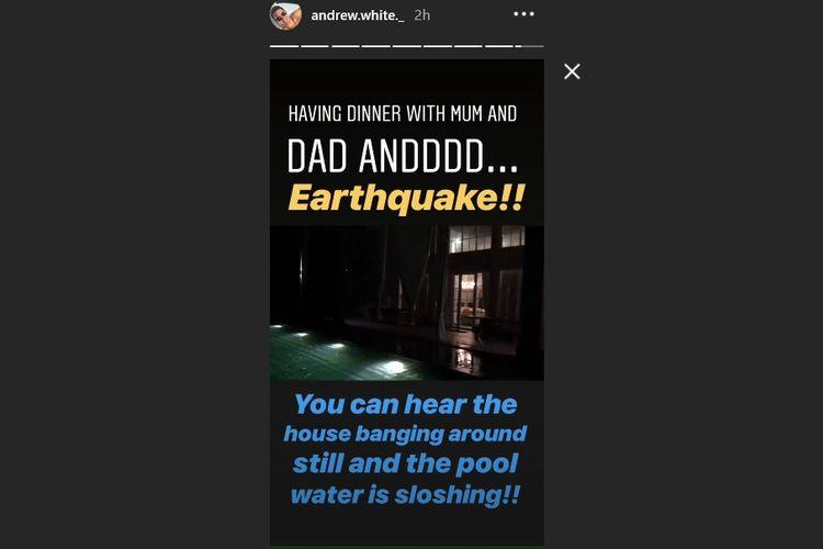 Artis peran Andrew White menggambarkan gempa yang dirasakan di Bali, meskipun pusat gempa berada di Lombok Utara, Nusa Tenggara Barat, Minggu (5/8/2018).(Instagram/Andrew White)