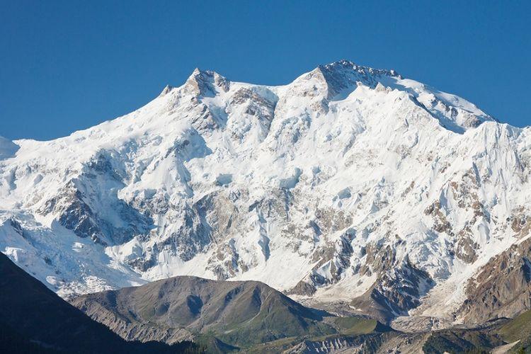 Gunung Nanga Parbat di Pakistan, yang dikenal sebagai gunung tertinggi kesembilan di dunia.