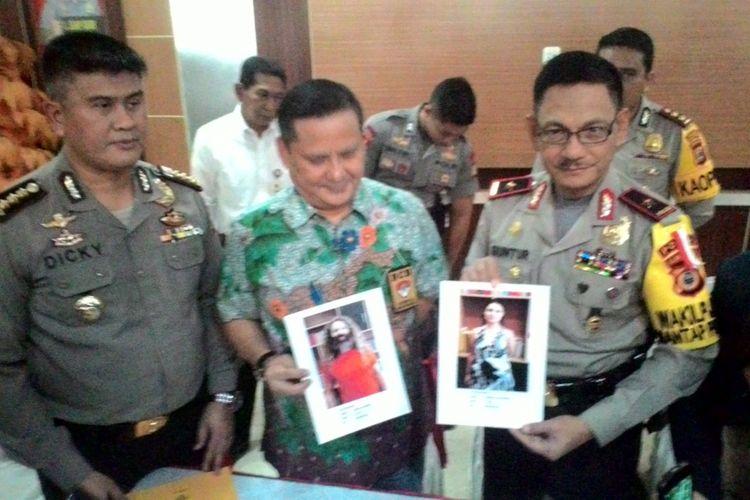 Pejabat Polda Sulsel dan Interpol Indonesia memperlihatkan foto penculik bocah Argentina, Alum.