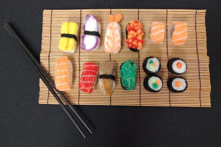Salah satu karya pada Pemeran Ilustrasi Makanan Jepang bertajuk Ceritamakan dalam rangkaian Japanese Cultural Week 2018 di Japan Foundation, Jakarta, Senin (19/2/2018).
