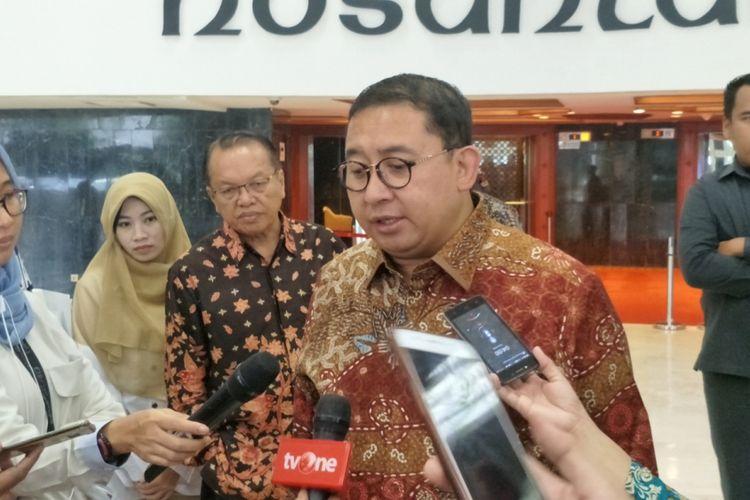 Wakil Ketua Umum Partai Gerindra Fadli Zon saat ditemui di Kompleks Parlemen, Senayan, Jakarta, Senin (12/3/2018).