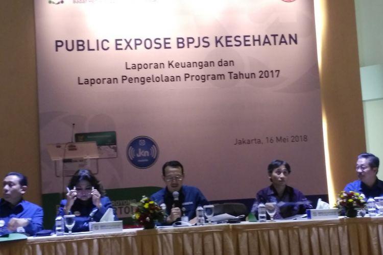Direksi BPJS Kesehatan memaparkan laporan kinerja keuangan tahun 2017 di Kantor Pusat BPJS Kesehatan, Jakarta, Rabu (16/5/2018).
