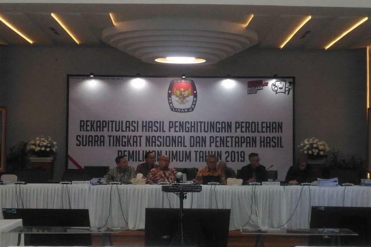Rekapitulasi KPU di Gedung KPU, Jakarta Pusat, Sabtu (18/5/2019).