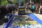 Polda Sulbar Gilas Ribuan Botol Miras dan Narkotika Hasil Razia di Bulan Ramadhan