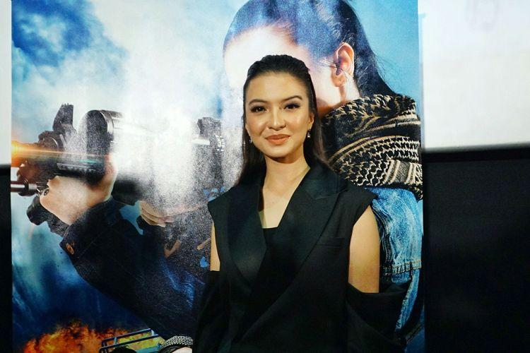 Artis peran Raline Shah dalam jumpa pers film Police Evo di CGV FX Sudirman, Jakarta Pusat, Rabu (10/4/2019).