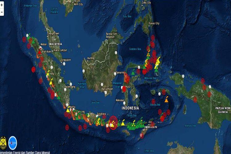 Tampilan situs magma Indonesia milik PVMBG Kementerian ESDM