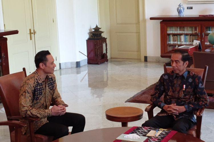 Presiden Joko Widodo bertemu Agus Harimurti Yudhoyono di Istana Bogor, Rabu (22/5/2019).
