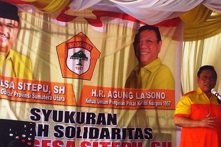 Agung Laksono saat melakukan konsolidasi dukungan untuk Ngongesa Sitepu di Medan