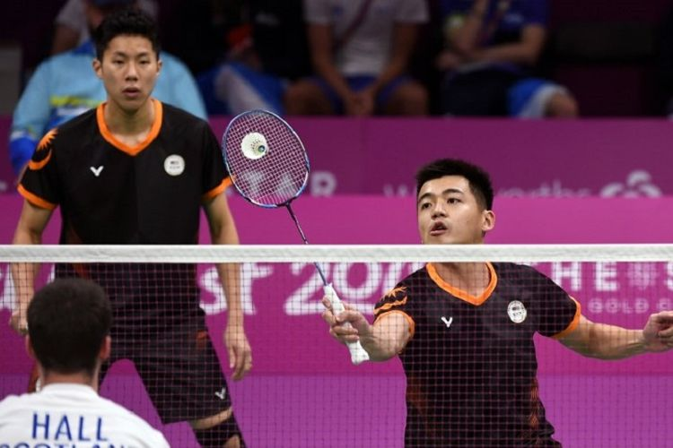Ganda putra Malaysia Tan Wee Kiong/Goh V Shem saat tampil di 2018 Gold Coast Commonwealth Games, 7 April 2018.