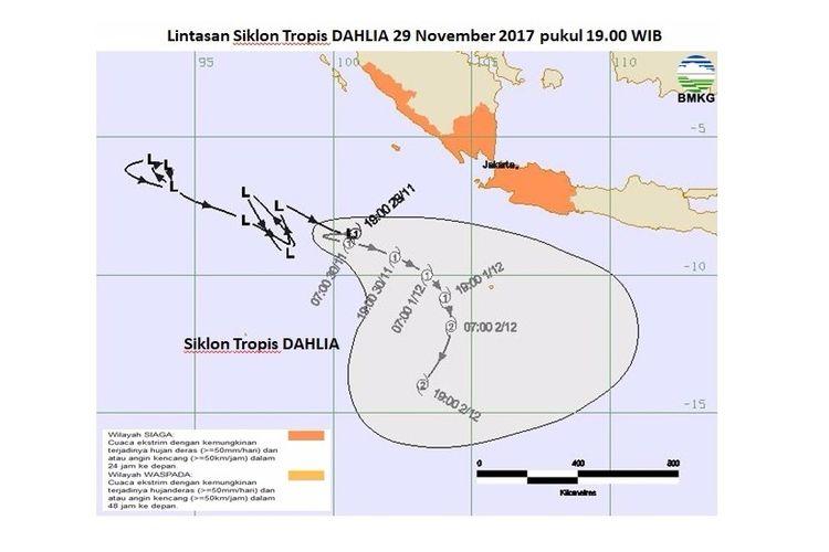 Lintasan siklon tropis Dahlia pada 29 Npvember 2017 pukul 19.00