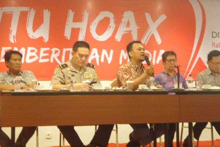 Paparan diskusi bertajuk Hantu Hoaks Dalam Pemberitaan Media di Hotel Oria, Jakarta Pusat, Rabu (14/3/2018).