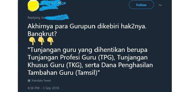 Salah satu akun di Twitter yang mengabarkan isu tunjangan guru