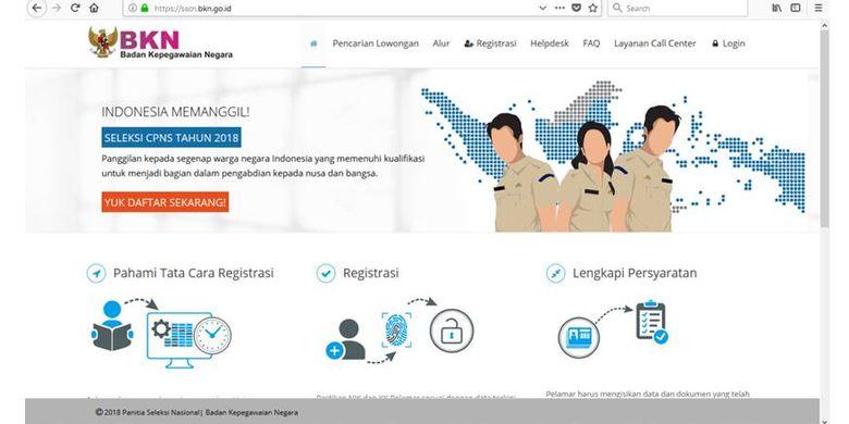 Tampilan home portal SSCN