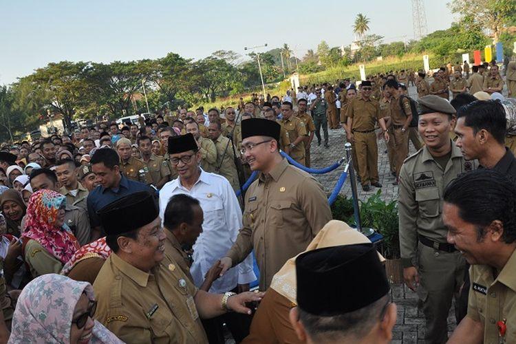 Gubernur Banten Wahidin Halim saat halal bihalal di Kantor Gubernur Provinsi Banten, Senin (10/6/2019)