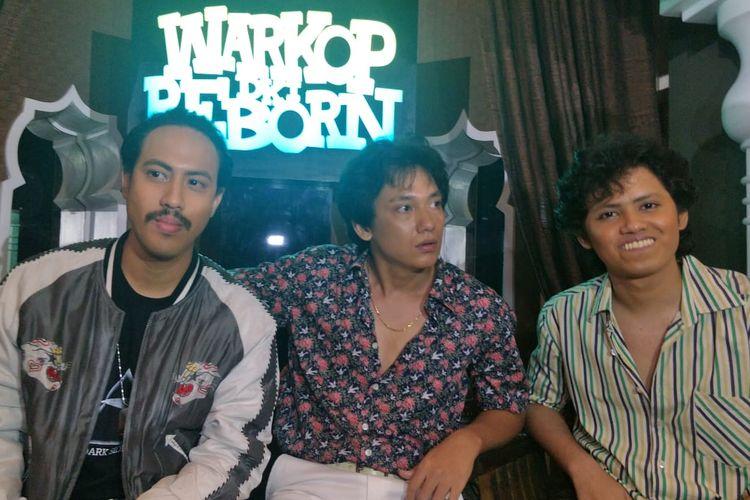 Randy Nidji, Adipati Dolken, Aliando Syarief saat jumpa pers Perkenalan Pemain Baru Warkop DKI Reborn di kawasan Menteng, Jakarta Pusat, Jumat (15/3/2019).