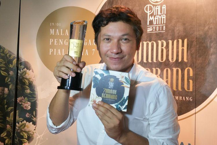 Gading Marten meraih penghargaan Aktor Utama Terpilih pada Malam Penghargaan Piala Maya 7 di Wyndham Casablanca Hotel, Jakarta Selatan, Sabtu (19/1/2019).