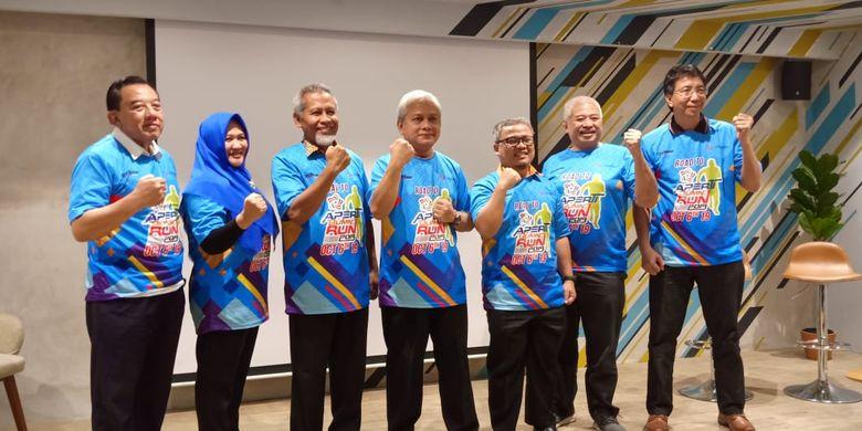 Para perwakilan pimpinan Aperti BUMN dalam konferensi pers Aperti BUMN 2019 Run yang digelar di Jakarta (6/8/2019).