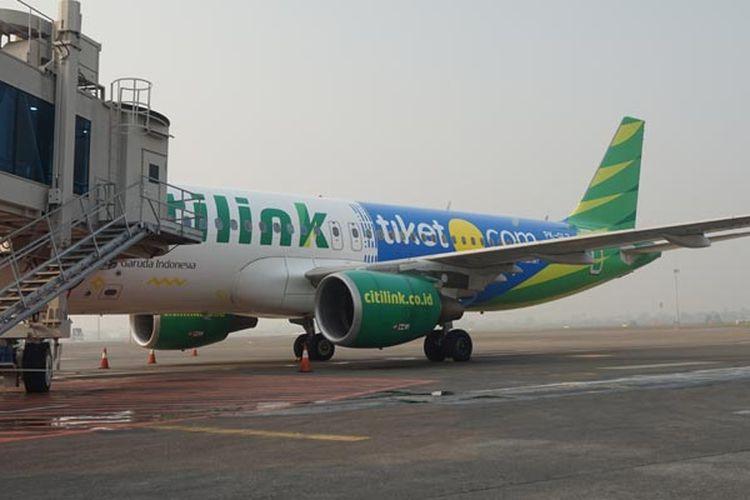 Pesawat Citilink dengan logo tiket.com di Bandara Soekarno-Hatta, Jumat (27/7/2018).