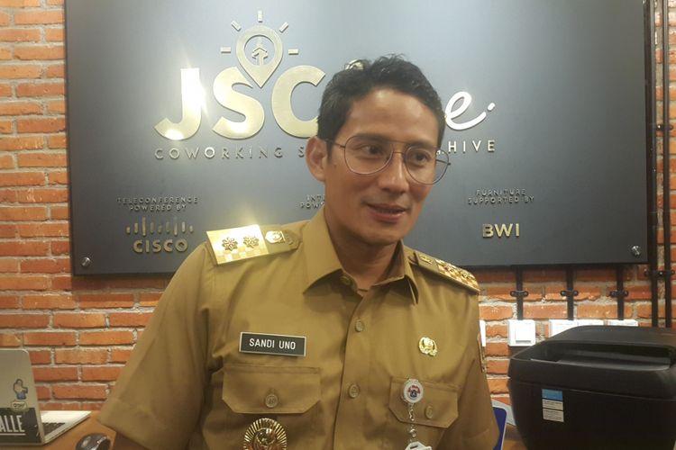Wakil Gubernur DKI Jakarta Sandiaga Uno di Jakarta Smart City Hive, Kuningan, Jakarta Selatan, Selasa (24/10/2017).