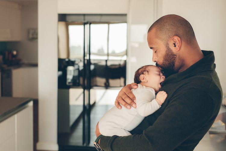 ilustrasi ayah dan bayi