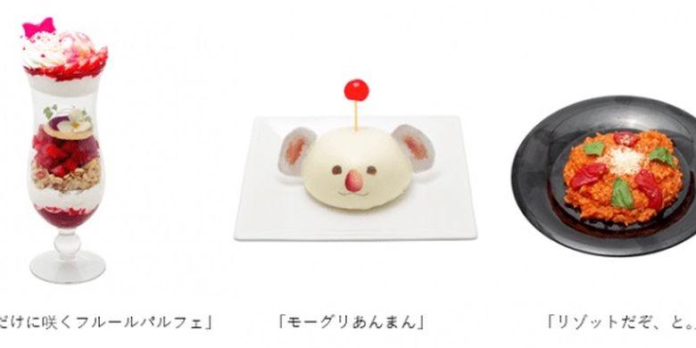 Hidangan yang terinspirasi dari FF VII: Aerith (Kiri) dan Moogle (Tengah). Kafe ini juga menyediakan risotto (Kanan).