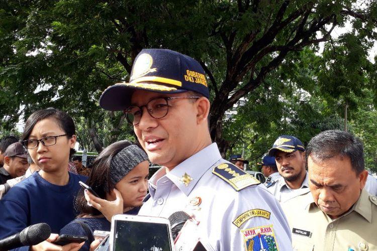 Gubernur DKI Jakarta Anies Baswedan di Lapangan IRTI, Monas, Jakarta Pusat, Selasa (16/1/2018).