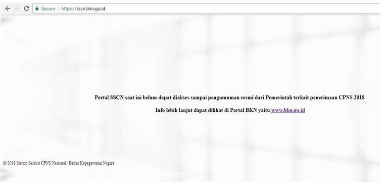 Keterangan pada portal SSCN Keterangan pada portal SSCN