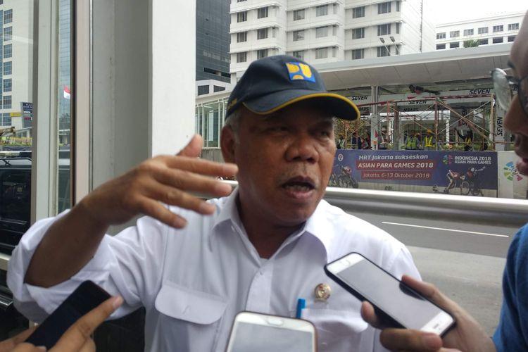 Menteri Pekerjaan Umum dan Perumahan Rakyat Basuki Hadimuljono di Stasiun MRT Bundaran HI, Selasa (19/3/2019).