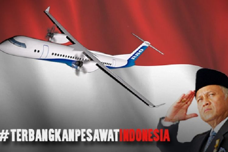 Foto penggalanan dana untuk purwarupa pesawat rancangan Habibie, R80.