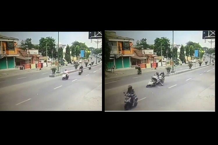 Sebuah tabrakan antar sesama pengendara motor yang terjadi akibat ketidakpatuhan dalam berlalu lintas.