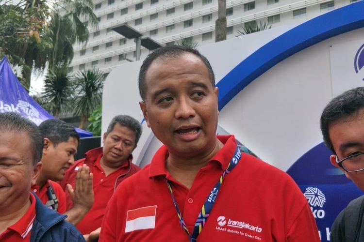 Direktur Utama PT Transjakarta Agung Wicaksono di Bundaran HI, Jakarta Pusat, Minggu (24/3/2019).
