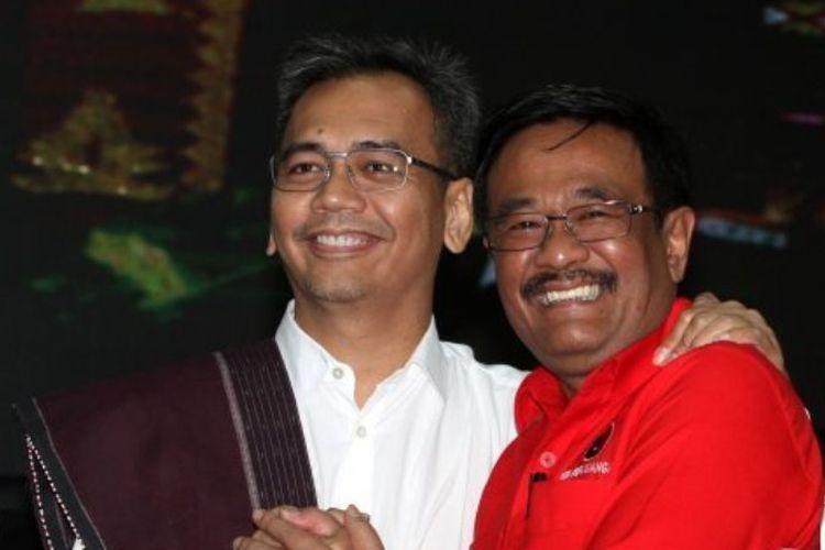 Pasangan Bacagub Cawagub Sumatera Utara Djarot Saiful Hidayat (kanan) dan Sihar Pangaribuan Sitorus (kiri) saat acara pengumuman bakal calon gubernur dan wakil gubernur yang diusung PDI Perjuangan di Kantor DPP PDI Perjuangan di Lenteng Agung, Jakarta, Minggu (7/1/2018).