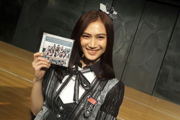 Melody JKT48 ditemui usai peluncuran singel ke-17 di Teater JKT48, FX Sudirman, Jakarta Pusat, Jumat (11/8/2017).