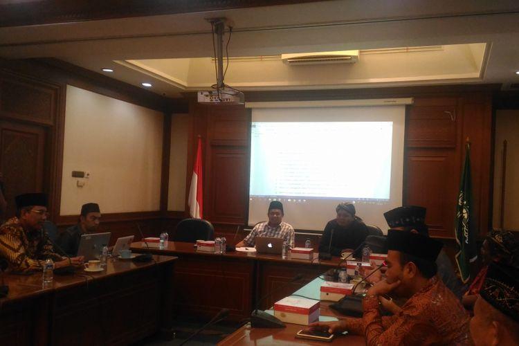 Panitia NU menggelar Focus Group Discussion (FGD) tentang RUU Permusikan di kantor PBNU, Jakarta, Senin (11/2/2019).